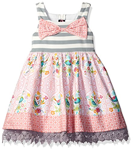 Rare Editions Easter Dress (Rare Editions Little Girls' Casual Easter Dress, Gray/Ivory/Blush, 6X)
