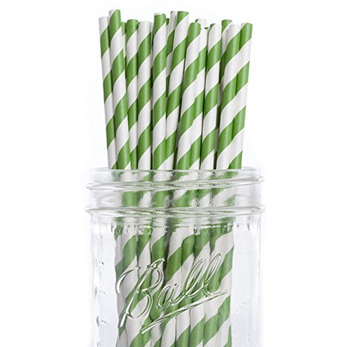 Dress My Cupcake Forest Green Striped Paper Straws, 25-Pack