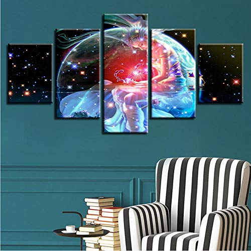 Framework Artworks Print Decor Bedroom Wall Painting 5 Pieces Scorpio Zodiac Astrological Sign Art Picture Modular Poster-40x60cmx2/40x80cmx2/40x100cm