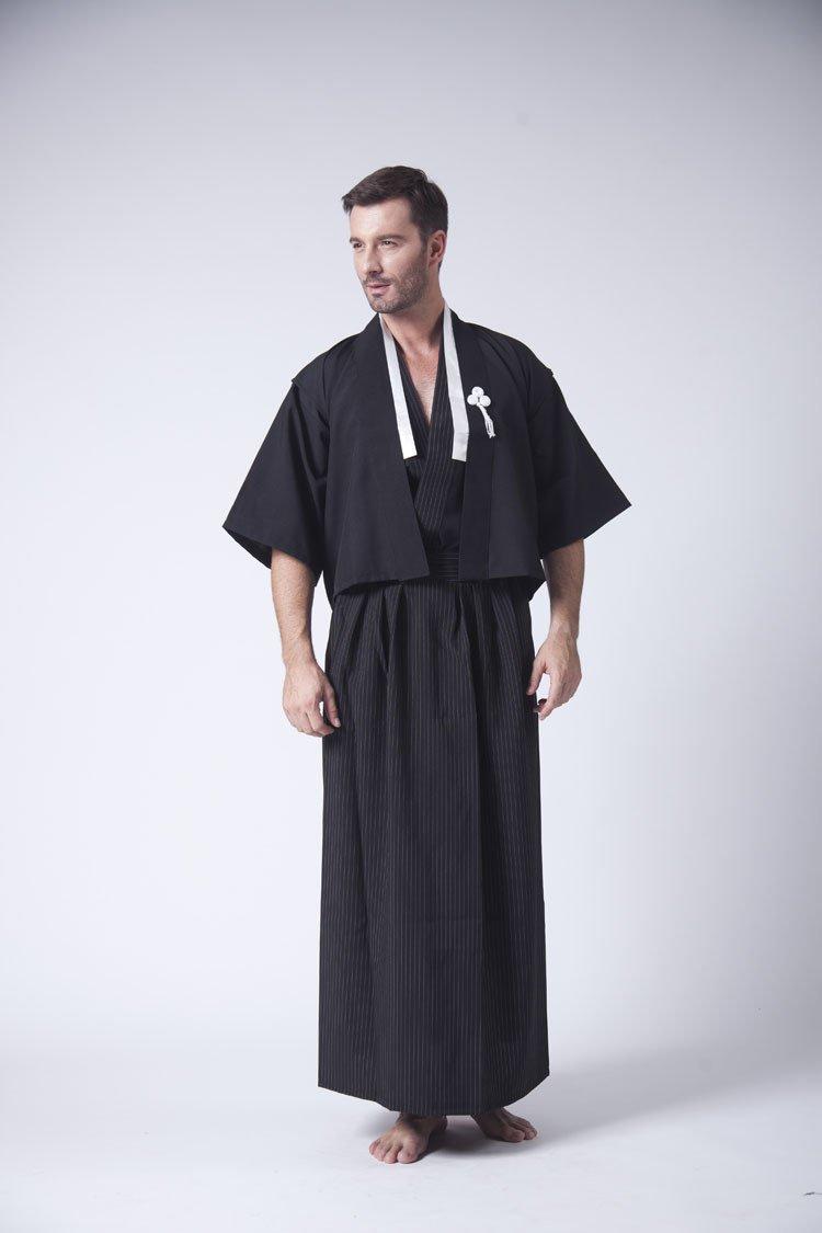 Twin Top giapponese Warrior Takashi Giappone giapponese Yukata vestaglia abbigliamento da notte/tradizionale giapponese da uomo da notte tradizionale Socks 1maschio a kimono, misura Senior Takashi Giappone regalo ideale per tutte le occasioni (Inc 2tops)