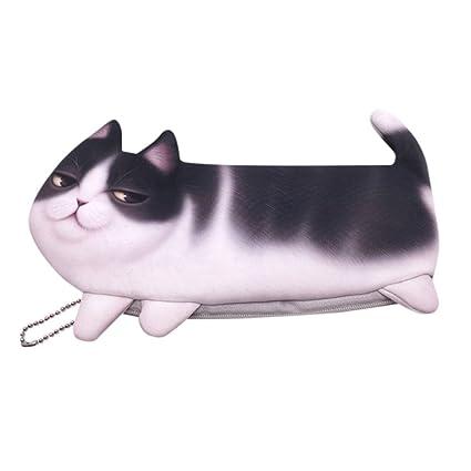 Bolsa para bolígrafo con diseño de cara de gato con cremallera en 3D, para mujeres