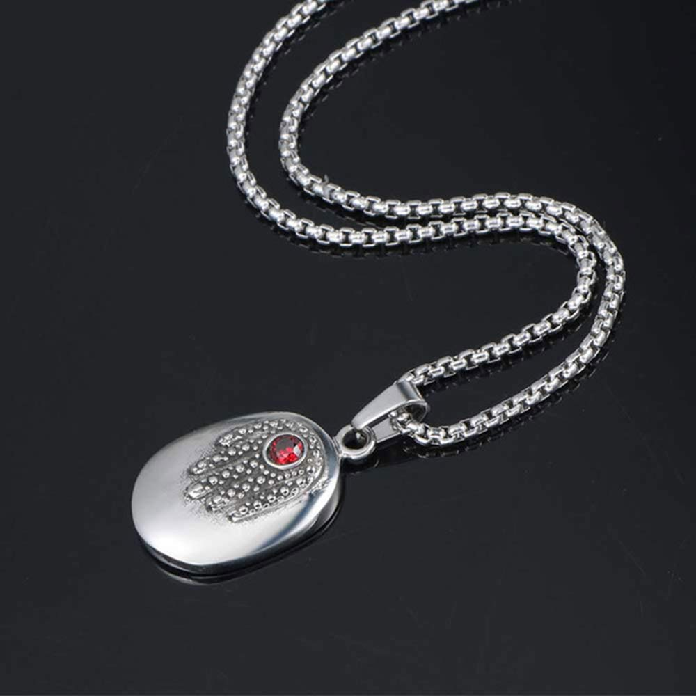 ANRIYA Titanium Stainless Steel Pendant Necklace for Men Women Vintage Punk Rock Cool Hand of Fatima Diamond Ruby Pendant with 23.6 Inches Link Chain