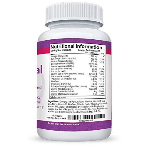 Multivitaminas prenatal y postnatal con DHA - Vitaminas libres de lactosa de Mothers Select - Sin lácteos ni gluten - Ácidos grasos omega 3, ácido fólico, ...