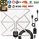TV Antenna, Wsky Amplified HD Digital TV Antenna with Long 60 Miles Range, High Reception Antenna for Free TV 4K 1080P Channels, Updated 2018 Version with Amplifier Signal Booster(Black-2) …
