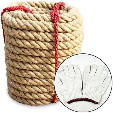 自然なジュートロープ、登山、屋外スポーツおよび庭のデッキのための30/40 MMの頑丈なねじれた麻ロープ,4cm/40m