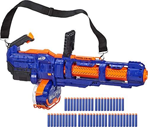 Nerf Guns Elite (NERF Elite Titan CS-50 Toy Blaster -- Fully Motorized, 50-Dart Drum, 50 Official Elite Darts, Spinning Barrel -- for Kids, Teens,)