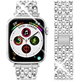 Goton Jewelry Band Compatible with Apple Watch Band 40mm 38mm, Women Luxury Diamond Bling Crystal Stainless Metal Replacement Strap for iWatch Band Series 4 3 2 1 (Silver - 40/38mm)
