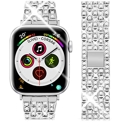 Goton Jewelry Band Compatible with Apple Watch Band 40mm 38mm, Women Luxury Diamond Bling Crystal Stainless Metal Replacement Strap for iWatch Band Series 4 3 2 1 (Silver - 40mm 38mm)