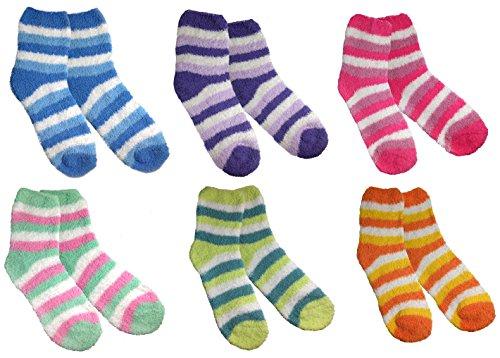 Microfiber Fluffy Chenille Socks Warm Pastel Color Sleeping Socks(6 Pair Set)