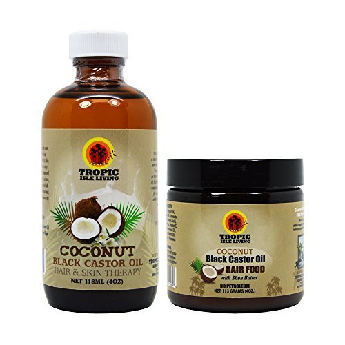 Tropic Isle Living Jamaican COCONUT Black Castor Oil & COCONUT Hair Food 4oz Set (w/ Applicator) by Tropic Isle Living Review