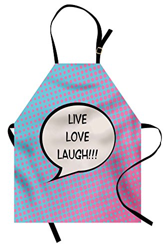Live Laugh Love Apron by Ambesonne, Pop Art Comic Book Style Halftone Dots Backdrop Retro Speech Balloon Text, Unisex Kitchen Bib Apron with Adjustable Neck for Cooking Baking Gardening, Multicolor - Comic Book Dot Costume