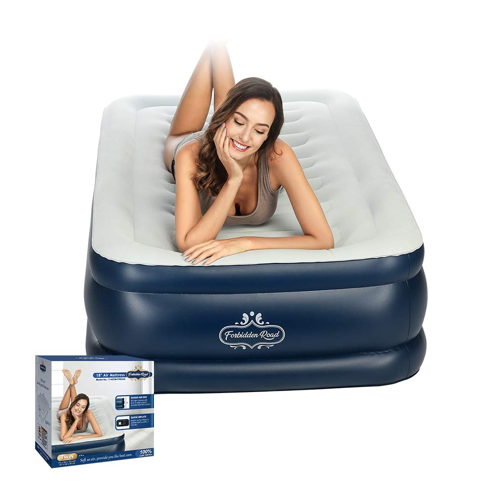 """Forbidden Road Air Mattress,Twin and Queen Size Inflatable Double Airbed with Built-in Electric Pump Durable Firm Blow Up Raised Bed with Storage Bag Easy Setup (Twin, 75.2""""38.98""""18.11"""")"""