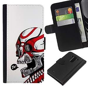 ZCell / LG G3 / Yo Black Red Skull White Biker Gang / Caso Shell Armor Funda Case Cover Wallet / Yo Negro Rojo cráneo Blanco motorista Gan