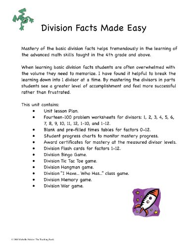 Amazon.com : Division Facts Made Easy : Teachers Professional ...