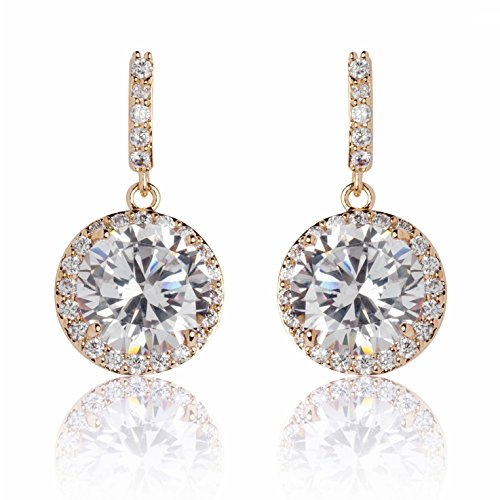 MISASHA inspired design gold plated rhinestone incrusted dangle drop earrings studs