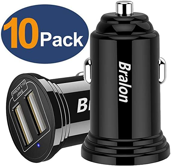 ,Bralon 12W 2.4A Dual USB Car Charger Adapter with Smart ID Compatible for iPhone 11 Pro Xs Max Xr X 8 7 6 SE Plus,iPad Tablet,Galaxy Note S10 S9 S8 S7 S6 Edge,LG,HTC and More Car Charger 10-Pack