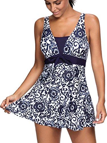 Bettydom Traje floral de una pieza para mujer Spa balneario dos colores opcionales Azul Marina
