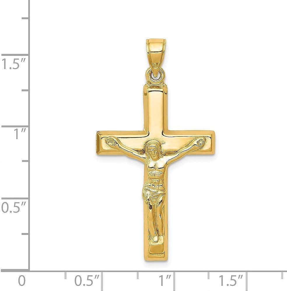 14k Yellow Gold Crucifix Pendant 40mm Length