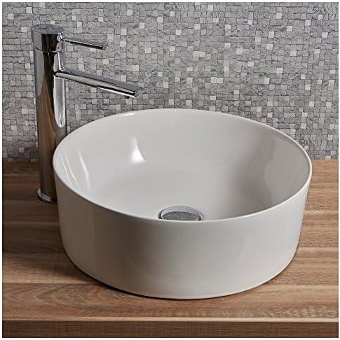 vidaXL Lavabo Ronde C/éramique Blanc 41,5x13,5 cm Vasque /à Poser Salle de Bain