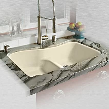 miseno mci76 4um ld 33 double basin undermount cast iron kitchen sink - Cast Iron Kitchen Sinks