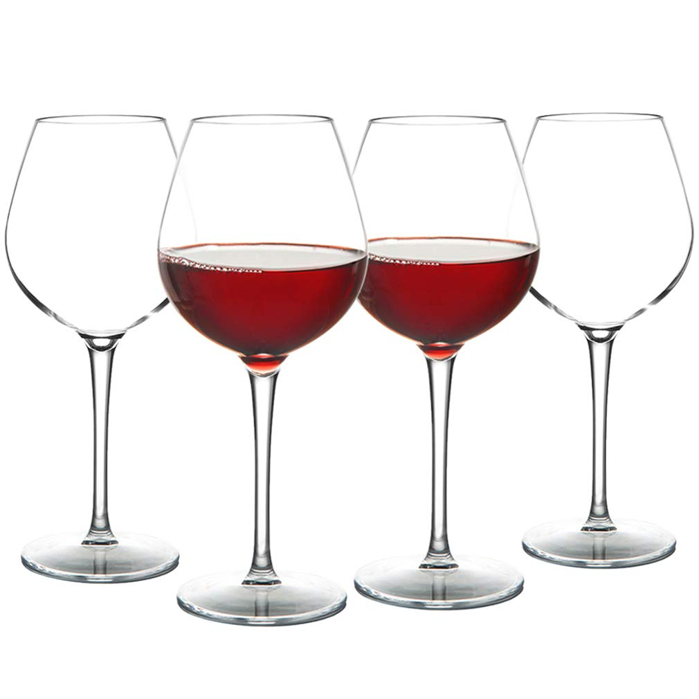 MICHLEY Unbreakable Red Wine Glasses 17 oz, Tritan Plastic Reusable Stemware for Indoor and Outdoor Use, Set of 4