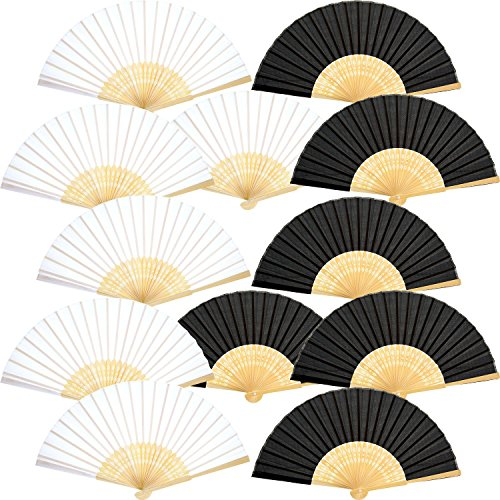 Bememo Hand Held Fans Silk Bamboo Folding Fans Handheld Folded Fan for Church Wedding Gift, Party Favors, DIY Decoration (6 Black and 6 White)]()