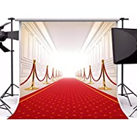 8x8FT Laeacco Photography Vinyl Backdrop Luxury Wedding Aisle Hall Red Carpet Swanky Palace Ceremony Party Celebrating Festival Bride Girls Photo Backdrop Studio Props