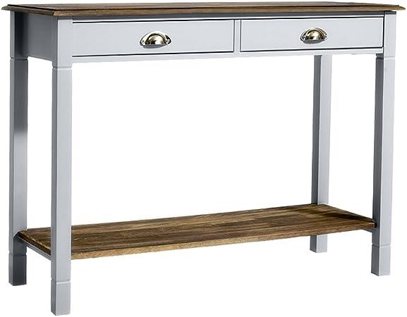 Keinode Table Console Moderne Blanche Avec 2 Tiroirs Et