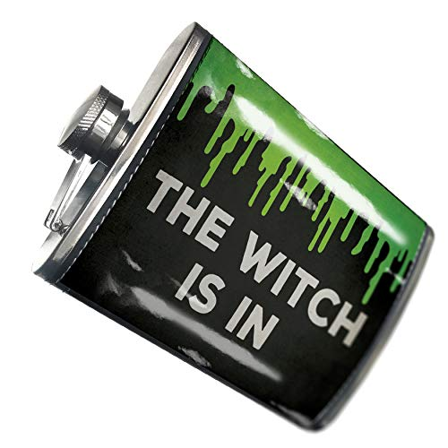 NEONBLOND Flask The Witch Is In Halloween Green Slime Hip Flask PU Leather Stainless Steel -
