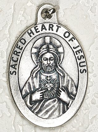 Sacred Heart of Jesus Large 1 1/2 Inch Pendant Made in Italy ()