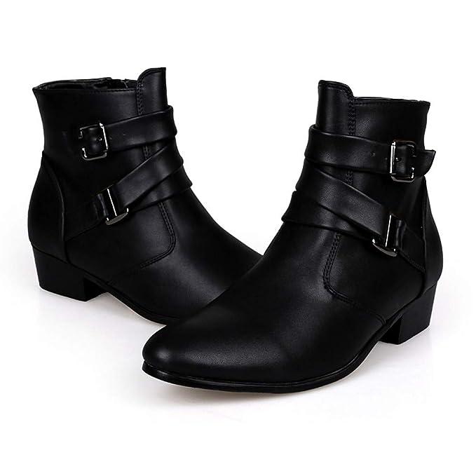 LILICAT❋ Botas Altas de Color Liso Botas de Hebilla de Cuero británicas Puntiagudas para Hombres Zapatillas de Botas Martin Botas de Trabajo Botas Martin ...