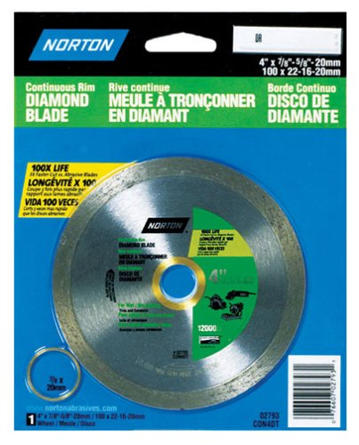 Norton 2793 4-Inch Dry or Wet Cutting Continuous Rim Diamond Saw Blade with 5/8-Inch Arbor for (Norton Tile Saw)
