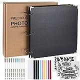 Anpro Album Scrapbook, 80 Pages Black Page (40 Photos), 26X26cm, DIY Accessory Set, Suitable for Anniversary, Wedding, Family, Graduation Gift… (Black) (Color: Black)