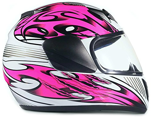 Youth Kids Full Face Helmet with Shield Motorcycle Street MX Dirtbike ATV - Pink (XL) by Typhoon Helmets (Image #1)