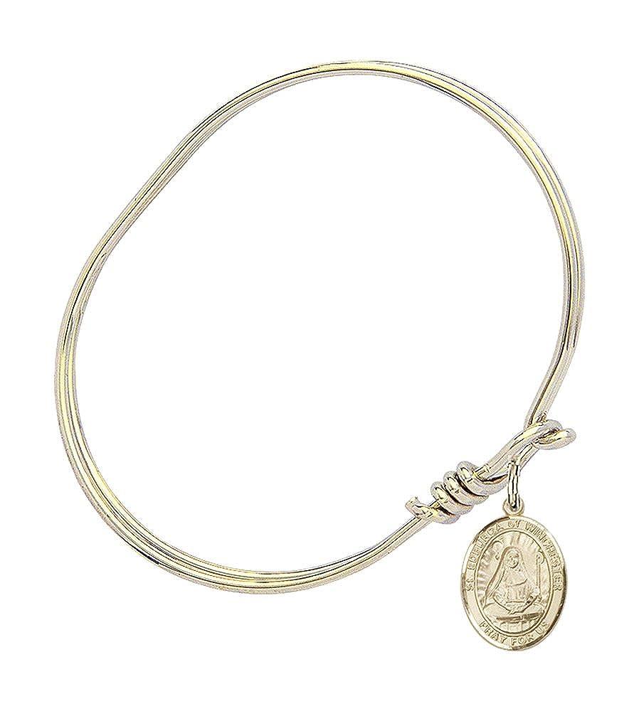 Edburga Of Winchester Charm On A Child Sized 5 3//4 Inch Oval Eye Hook Bangle Bracelet St