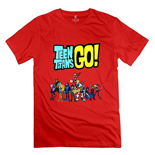 Male Teen Titans Go Custom 100% Cotton Red T-Shirt By Mjensen