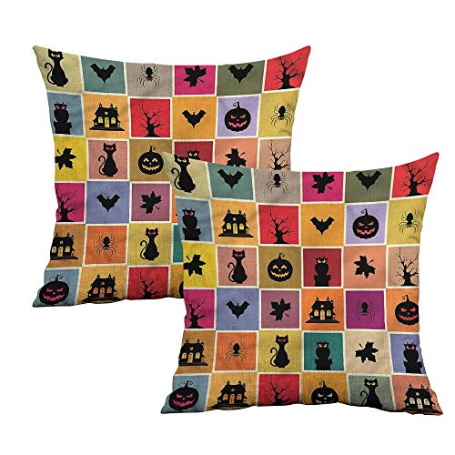 Khaki home Vintage Halloween Square Body Pillowcase Bats Cats Owls Square Zippered Pillowcase Cushion Cases Pillowcases for Sofa Bedroom Car W 24