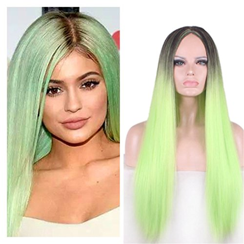 [B-G Women's 24-Inch Heat Resistant Synthetic Long Straight Hair Wig with Wig Cap (WIG095)] (Neon Green Wigs)