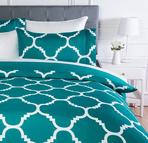 AmazonBasics - Juego de ropa de cama con funda de edredon, de microfibra, 135 x 200 cm, Cerceta celosia (Teal Trellis)