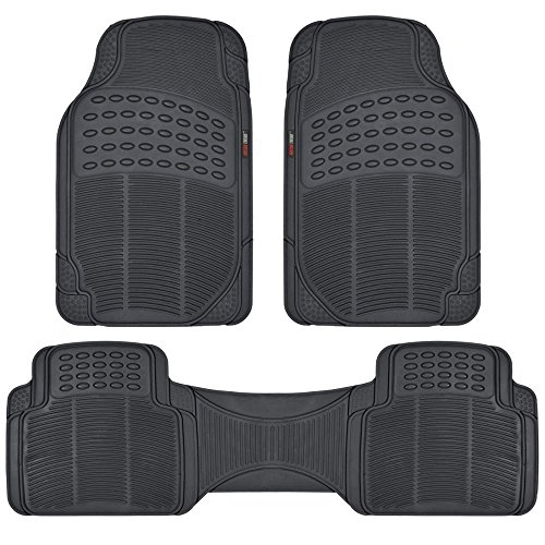 Motor Trend FlexTough Rubber Floor Mats for Car & SUV - 100% Odorless & All Weather Heavy Duty (Black) (2004 Infiniti Suv)