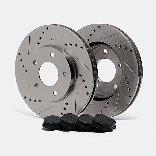 [Max TA006032 Rear Premium Slotted & Drilled Rotors and Carbon Metallic Pads Combo Brake Kit] (Rx 8 Rear Brake)