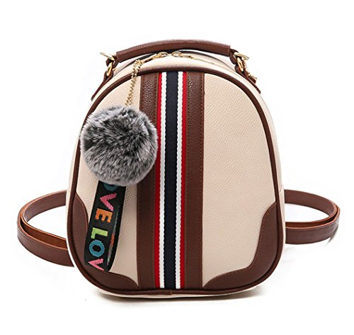 DEERWORD Mujer Bolsos mochila Bolsas escolares Bolsos bandolera Shoppers y bolsos de hombro Cuero de PU Bézs