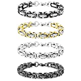 MOWOM Silver Gold Two Tone Black 8mm Wide 4PCS Stainless Steel Bracelet Byzantine Chain Link Set 8.5 Inch