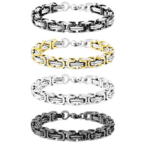 MOWOM Silver Gold Two Tone Black 8mm Wide 4PCS Stainless Steel Bracelet Byzantine Chain Link 8.5 Inch Set