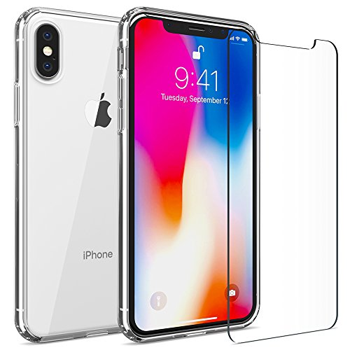 - FlexGear iPhone X XS Clear Case Hard Back TPU Bumper + Glass Screen Protector, Designed for iPhone X/XS (Clear)