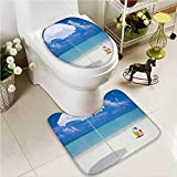 VROSELV 2 Piece Toilet Cover set Na Pali Coast on Kauai in Hawaii Sunny Day Non-slip Soft Absorbent Bath Toilet mat