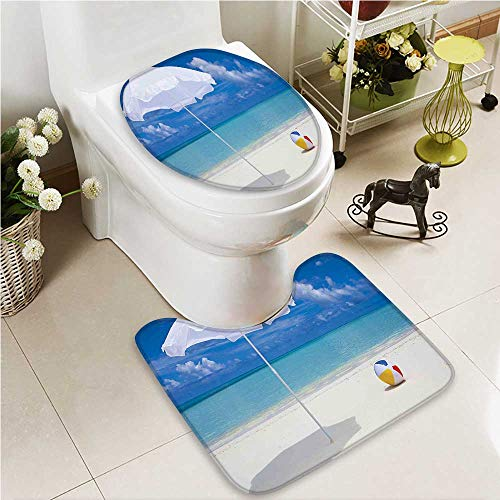 VROSELV 2 Piece Toilet Cover set Na Pali Coast on Kauai in Hawaii Sunny Day Non-slip Soft Absorbent Bath Toilet mat by VROSELV