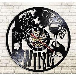 Haolc Wine Logo Wall Clock Winery Bottle Glass Grape Vine Drink Drinking Alcohol Liquor Pub Bar Label Emblem Vinyl Record Wall Clock