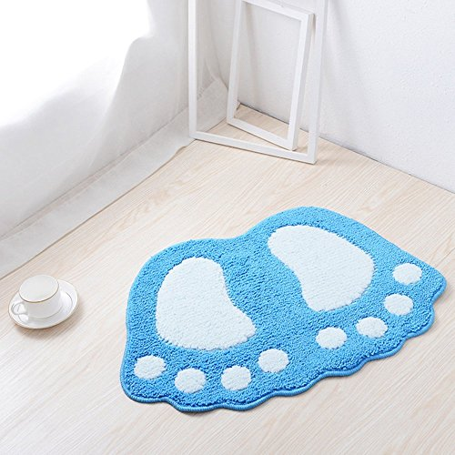 "Jian Ya Na Non Slip Bath Toilet Mat Cute Big Feet Bathroom Shower Rugs Shaggy Carpet Absorbent Doormat Floor Mat Living Room Sofa Cushion Foot Pad Rug (19""x26"" (48x67CM), Blue)"