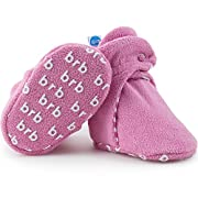 BirdRock Baby Fleece Baby Booties - Organic Cotton & Non Skid Gripper Bottoms - Cozy Boys & Girls Bootie - Stay On Better Than Infant, Newborn, Or Toddler Socks! (US 1, Cotton Candy)